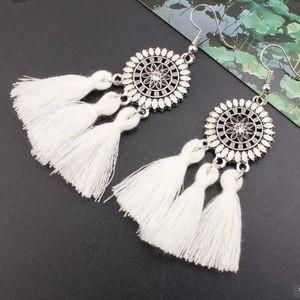 2 LEFT! 3/$21 White tassle earrings